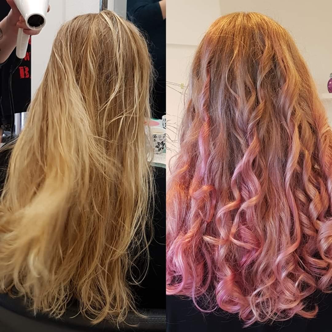 Roze haar voor en na